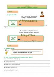 English Worksheet: The Comparative of Equality