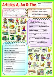 English Worksheets: Articles A, An & The ( Singular, Plural)