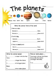comparative and superlative basics with planets