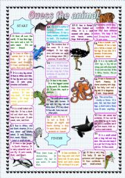 English Worksheet: Guess the animal - board game (editable)