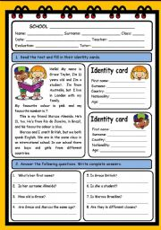 English Worksheets: PERSONAL INFORMATION  ( 3 PAGES )