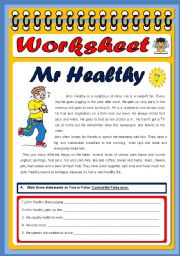English Worksheets: Mr _Healthy-Reaging Comprehension exercises