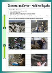 English Worksheet: Conversation Corner - Haiti Earthquake