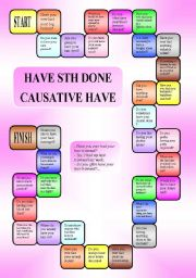 English Worksheet: Have sth done (causative have) - a boardgame (editable,B/W)