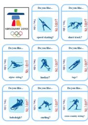 English Worksheet: Canada Olympics Game Cards