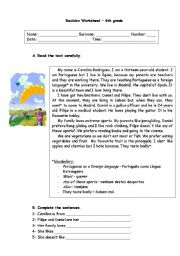 English Worksheet: 6th grade revision worksheet