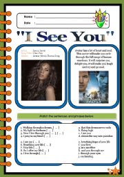 English Worksheet: I See You (Theme from Avatar) by Leona Lewis [2pages]