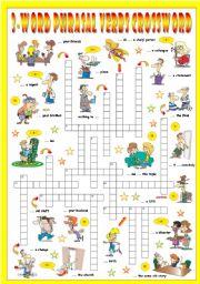 English Worksheet: 3-Word Phrasal Verbs (Sixth series). Crossword (Part 3/3)