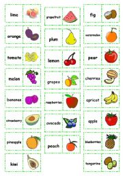 English Worksheet: Let�s play dominoes! Set 8 - Fruit