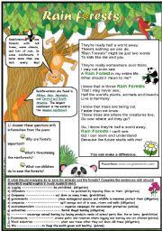 Animal Habitats: Rainforest   Worksheet   Education.com