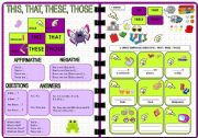 English Worksheet: Demonstratives: THIS - THAT - THESE - THOSE (1 of 2). Editable
