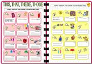 English Worksheets: Demonstratives: THIS - THAT - THESE - THOSE (2 of 2). Editable