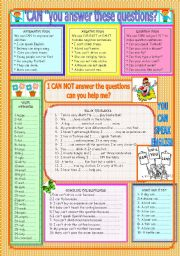 English Worksheet: CAN-CAN´T