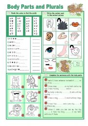 English Worksheets: Body Parts and Plurals
