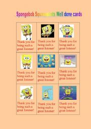 English Worksheets: Spongebob squarepants Well done cards