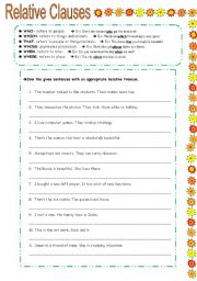 English Worksheets: RELATIVE CLAUSES exercises