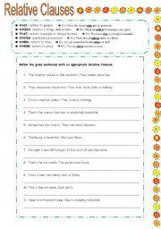 RELATIVE CLAUSES exercises - ESL worksheet by elisabeteguerreiro