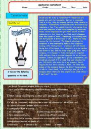 English Worksheets: Teleworker a comprehension passage