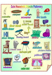 English Worksheets: Cute Household Objects Pictionary **fully editable