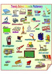 English Worksheet: Trendy School Objects Pictionary