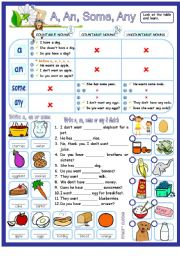 English Worksheet: A, an, some & any with countable & uncountable nouns - guide & exercises.