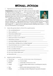 English Worksheet: FAMOUS PEOPLE BIOGRAPHY - MICHAEL JACKSON