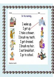 English Worksheets: different routines