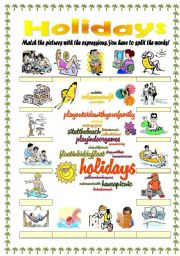 English Worksheet: Holidays / vacations vocabulary (word mosaic included)