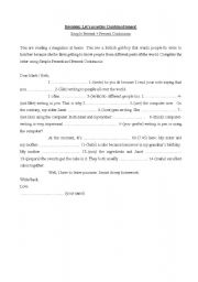 English worksheet: Simple Present + Present Continuous