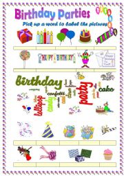 English Worksheet: Birthday party vocabulary (word mosaic included)