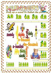 numbers  vocabulary (word mosaic included) 2nd part (20 to 1,000,000)