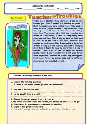 English Worksheets: Teacher=troubles