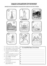 english worksheets tourist attractions in the world. Black Bedroom Furniture Sets. Home Design Ideas