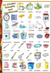 English Worksheet: Find 40 Kitchen Utensils and Appliances