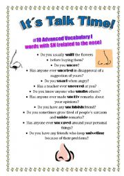 English Worksheet: Talk Time #10 - Advanced Vocabulary I - words with SN (related to the nose)