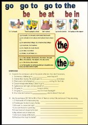 English Worksheets: GO - GO TO - GO TO THE, BE - BE AT - BE IN
