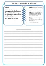 English Worksheets: Writing a description of a person (1)
