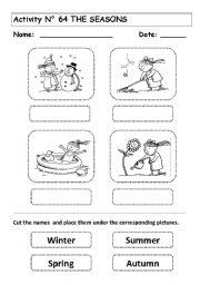 English worksheets: the Seasons worksheets, page 12