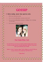 English Worksheet: Reading Activity about Gossip