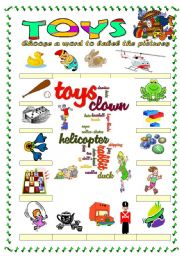 Toys vocabulary 2 (word mosaic included)