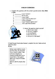 English Worksheets: English Excercises for begginners