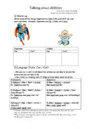English Worksheet: Talking about Abilities using CAN / CAN�T Modal Auxiliary Verbs