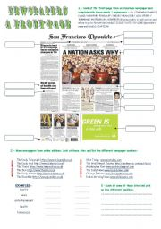 English Worksheet: The front page of a newspaper