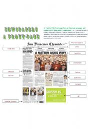 English Worksheet: The fontpage of a newspaper - correction