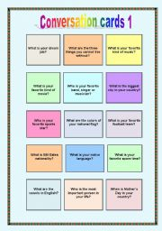 English Worksheets: Conversation cards 1 - Wh-questions + to be