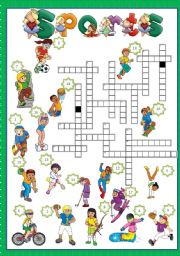 English Worksheet: SPORTS - CROSSWORD