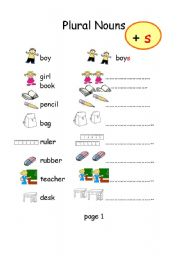english worksheets plural nouns s and es. Black Bedroom Furniture Sets. Home Design Ideas