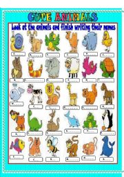 English Worksheet: cute animals- write the names of the animals