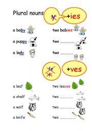 English Worksheets: Plural nouns +ies, +ves and irregular nouns