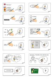 English Worksheet: CLASSROOM ENGLISH card game (24 cards on this worksheet) - part II of II